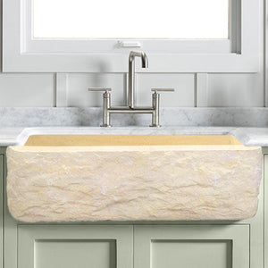 "24"" Burwell Polished Egyptian Cream Marble Single-Bowl Farmhouse Sink - Chiseled Apron"