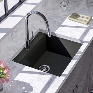 "24"" Canika  Granite Composite Sink - Black"