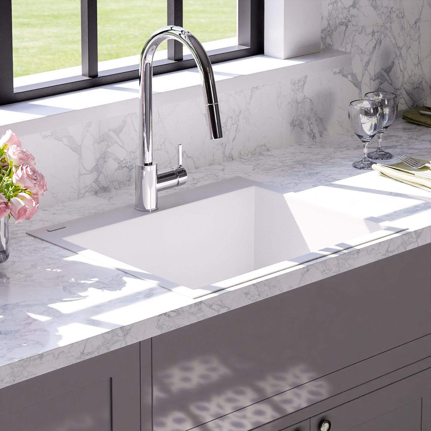 24 Canika Granite Composite Sink Pure White Magnus Home Products