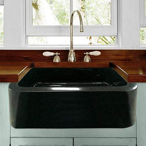 "24"" Mableton Smooth Polished Black Granite Single-Bowl Farmhouse Sink"
