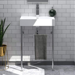 "24"" Vernal Vitreous China Console Bathroom Sink with Steel Stand"