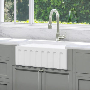 "24"" Yovanny Fireclay Fluted Apron Single-Bowl Farmhouse Sink - White"