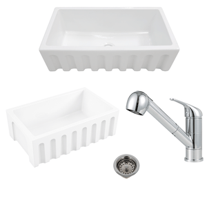 "24"" Yovanny Fireclay Fluted Apron Single-Bowl Farmhouse Sink - White - With Grid Plus Cullman Single-Hole Pull-Out Kitchen Faucet And Drain"