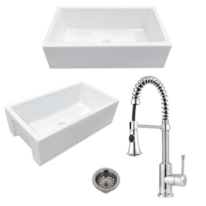 "24"" Yovanny Fireclay Smooth Apron Single-Bowl Farmhouse Sink - White - With Grid Plus Claremont Pull-Down Kitchen Faucet And Drain"
