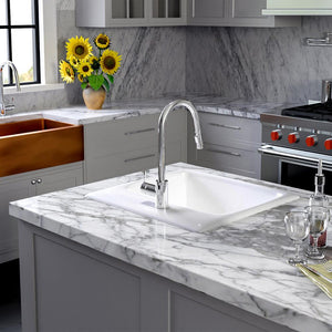 "25"" Daya Cast Iron Drop-In Kitchen Sink"