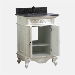 "25"" Warden Vanity with Impala Black Granite Top and Oval Undermount Sink - Antique White"