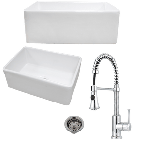 "26"" Ponca Fireclay Smooth Apron Single-Bowl Farmhouse Sink Plus Claremont Pull-Down Kitchen Faucet And Drain"