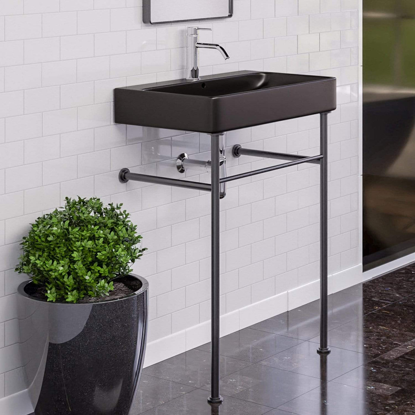 28 Kemmerer Black Vitreous China Console Bathroom Sink With Black Pow Magnus Home Products