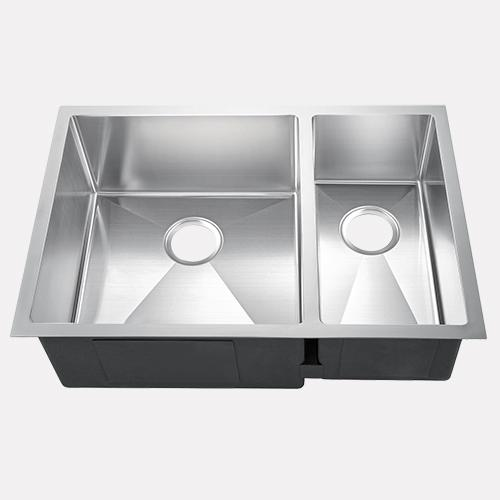 "29"" Fazeley Stainless Steel Offset Double-Bowl Undermount Sink"