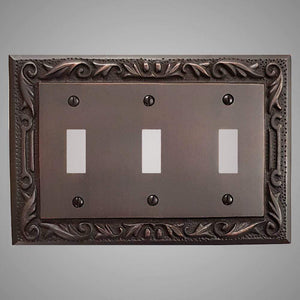 3 Gang Toggle Wall Switch Plate - Floral Design