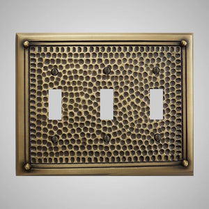 3 Gang Toggle Wall Switch Plate - Framed Hammered Design