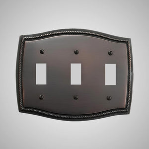 3 Gang Toggle Wall Switch Plate - Georgian Design