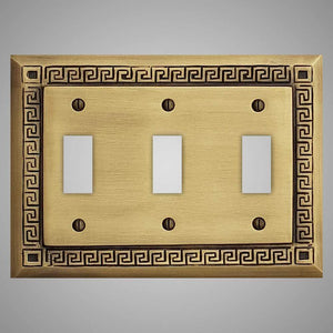 3 Gang Toggle Wall Switch Plate - Greek Design