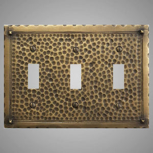 3 Gang Toggle Wall Switch Plate - Hammered Design