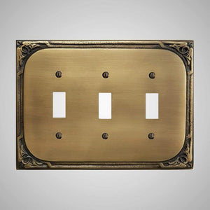 3 Gang Toggle Wall Switch Plate - Victorian Design