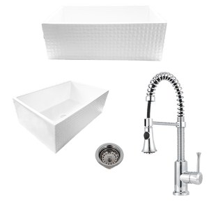 "30"" Arminda Fireclay Checkered Apron Single-Bowl Farmhouse Sink Plus Claremont Pull-Down Kitchen Faucet And Drain"