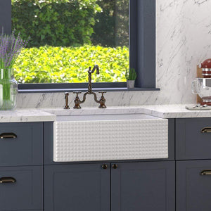 "30"" Arminda Fireclay Checkered Apron Single-Bowl Farmhouse Sink Plus Cullman Single-Hole Pull-Out Kitchen Faucet And Drain"