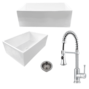 "30"" Arminda Fireclay Smooth Apron Single-Bowl Farmhouse Sink Plus Claremont Pull-Down Kitchen Faucet And Drain"