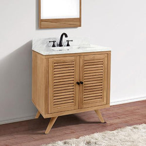 "30"" Compton Teak Vanity Cabinet for Rectangular Undermount Sink - Natural Teak"