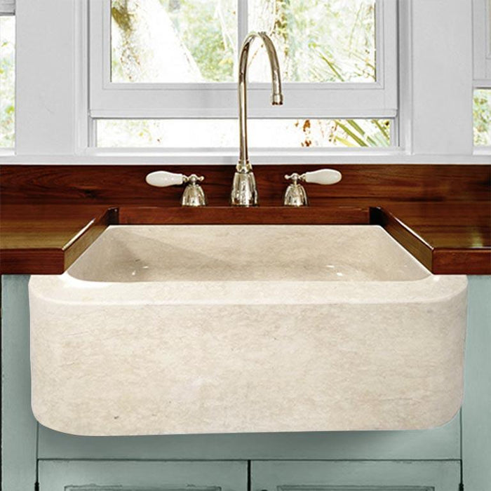 "30"" Hadar Smooth Polished Egyptian Cream Marble Single-Bowl Farmhouse Sink"