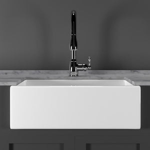 "30"" Hempstead Fireclay Reversible Single-Bowl Farmhouse Sink with Offset Drain"