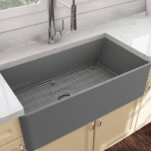 "30"" Linden Fireclay Single-Bowl Farmhouse Sink - Gray Matte Finish"