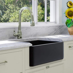 "30"" Mableton Smooth Polished Black Granite Single-Bowl Farmhouse Sink"