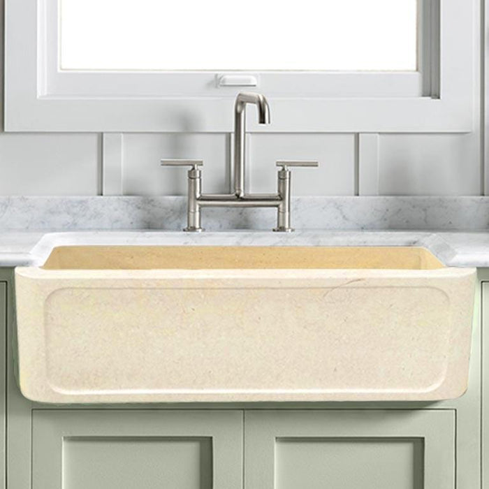 "30"" Obert Polished Egyptian Cream Marble Single-Bowl Farmhouse Sink - Frame-Style Apron"