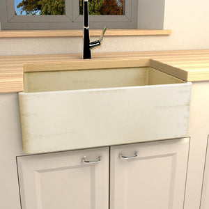 "30"" Purdy Handcrafted Single-Bowl Smooth Apron Fireclay Farmhouse Sink - Distressed Wheat"