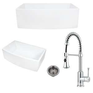 "30"" Talbott Fireclay Curved Apron Single-Bowl Farmhouse Sink Plus Claremont Pull-Down Kitchen Faucet And Drain"