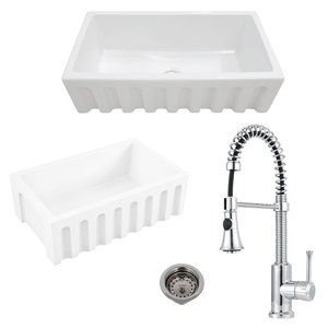 "30"" Yovanny Fireclay Fluted Apron Single-Bowl Farmhouse Sink - White - With Grid Plus Claremont Pull-Down Kitchen Faucet And Drain"