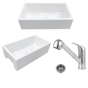 "30"" Yovanny Fireclay Smooth Apron Single-Bowl Farmhouse Sink - White - With Grid Plus Cullman Single-Hole Pull-Out Kitchen Faucet And Drain"