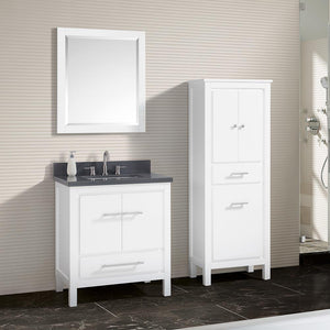 "31"" Chelan Vanity with Gray Quartz Top and Rectangular Undermount Sink - White"