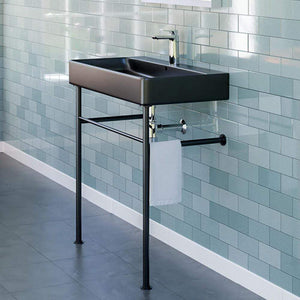 "32"" Baggs Black Vitreous China Console Bathroom Sink with Black Powdercoat Steel Stand"