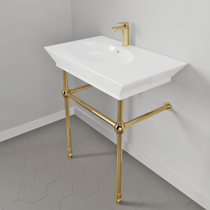 "32"" Duson Fireclay Console Bathroom Sink with Brass Stand"