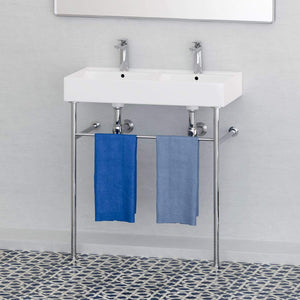 32 Elkins Double Bowl Vitreous China Console Bathroom Sink With Steel Magnus Home Products