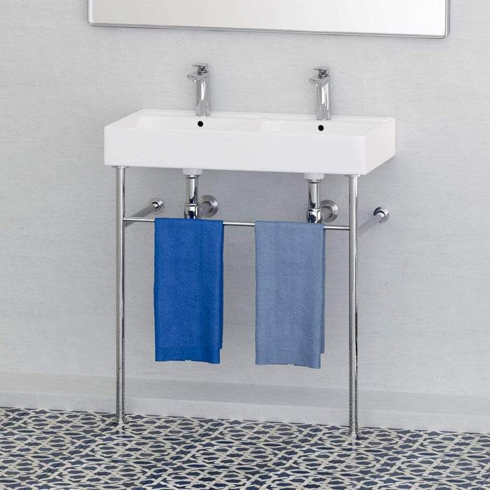 "32"" Elkins Double Bowl Vitreous China Console Bathroom Sink with Steel Stand"