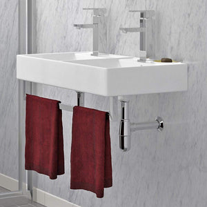 "32"" Elkins Wall-Mount Vitreous China Double-Bowl Sink with Steel Towel Bars - Open Box"