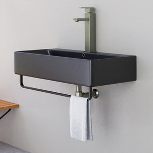 "32"" Lesage Wall-Mount Black Vitreous China Sink with Black Powdercoat Steel Towel Bar"