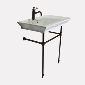 "32"" Lydia Fireclay Console Bathroom Sink with Brass Stand"