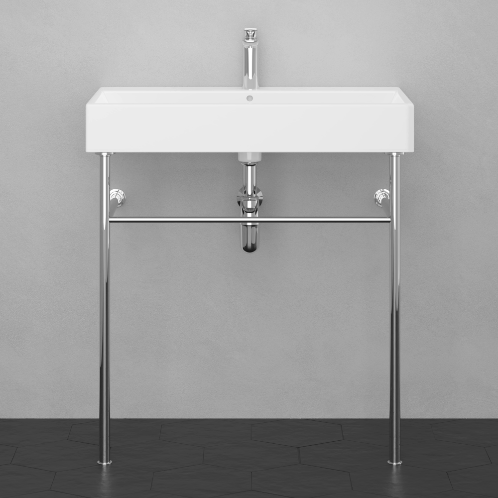 32 Orma Vitreous China Console Bathroom Sink With Steel Stand Magnus Home Products