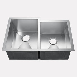 "32"" Tamworth Stainless Steel Offset Double-Bowl Undermount Sink"
