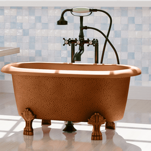 "32"" Wexford Baby Hammered Copper Clawfoot Double Roll-Top Tub"