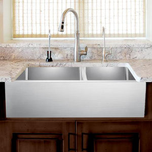 "33"" Adger Stainless Steel 60/40 Offset Double-Bowl Farmhouse Sink"