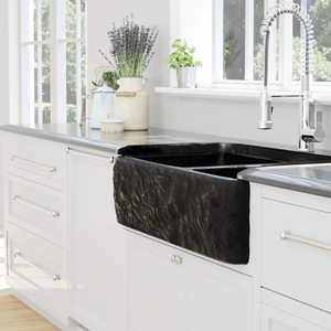 "33"" Buford Polished Black Granite 60/40 Offset Double-Bowl Farmhouse Sink - Chiseled Apron"