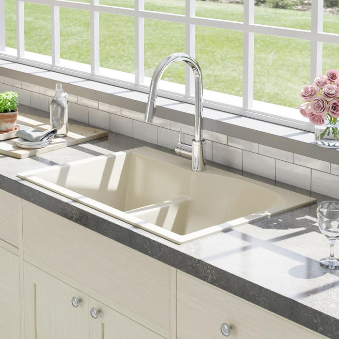 "33"" Bysen 60/40 Offset Double-Bowl  Granite Composite Sink - Beige"