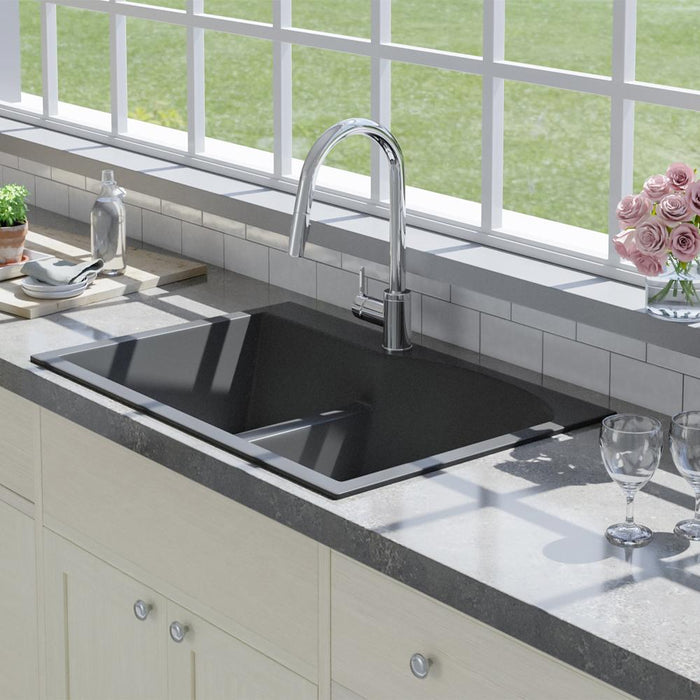 "33"" Bysen 60/40 Offset Double-Bowl  Granite Composite Sink - Black"