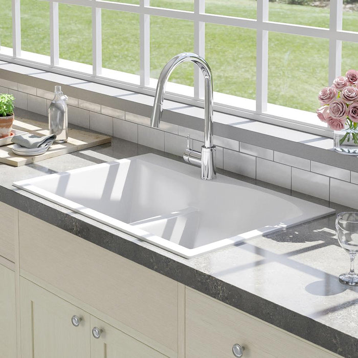 "33"" Bysen 60/40 Offset Double-Bowl  Granite Composite Sink - Pure White"