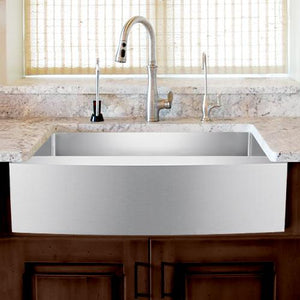 "33"" Calera Stainless Steel Single-Bowl Farmhouse Sink - Curved Apron"
