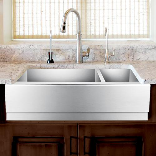 "33"" Gallant Stainless Steel 70/30 Offset Double-Bowl Farmhouse Sink - Beveled Apron"